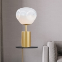Shaded Reading Lamp Contemporary Dimpled Blown Glass 1 Head Task Lighting in Gold