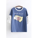 Popular Girls Short Sleeve Round Neck Sleeping Pig Graphic Color Block Loose Fit Tee