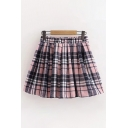Cute Elastic Waist Plaid Patterned Mini Pleated A-Line Pink Skirt for Girls