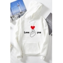 Fancy Girls Long Sleeve Drawstring Letter LOVE YOU Finger Heart Gesture Graphic Relaxed Hoodie with Pocket