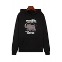 Fashionable Womens Long Sleeve Letter REAL UNICORNS HAVE CURVES Cartoon Graphic Relaxed Pouch Pocket Hoodie