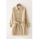 Elegant Ladies Plain Long Sleeve Lapel Collar Button Down Buckle Belted Flap Pockets Loose Fit Longline Trench Coat