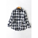 Fashionable Black Long Sleeve Lapel Neck Plaid Printed Button Down Loose Shirt with Bag