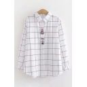 Womens Lovely Long Sleeve Lapel Collar Button Down Checker Printed Embroidery Curved Hem Loose Shirt