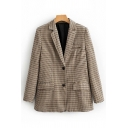 Fashion Formal Khaki Long Sleeve Notched Collar Button Down Plaid Pattern Flap Pockets Relaxed Blazer for Ladies