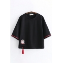 Chinese Style Retro Three-Quarter Sleeve Round Neck Cat Embroidered Pocket Panel Tassel Contrast Piped Loose Fit T Shirt