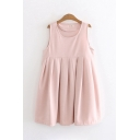 Cute Girls Sleeveless Round Neck Solid Color Midi Pleated A-Line Tank Dress