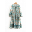 Womens Ethnic Long Sleeve Round Neck Bow Tie All Over Floral Pattern Maxi Pleated Swing Dress
