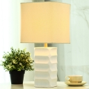 abric Square Table Lamp Modern 1 Head White Task Lghting with Rectangle Ceramic Base
