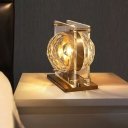 1 Head Bedroom Desk Light Modern Gold Night Table Lamp with Globe Faceted Crystal Shade