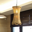 1 Bulb Ceiling Lighting Farmhouse Radian Rope Hanging Pendant Lamp in Beige with Hand Woven Design
