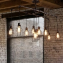 Caged Restaurant Island Lighting Vintage Metal 6/10 Lights Aged Silver Hanging Lamp Kit with 2-Pipe Rod