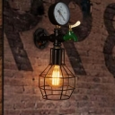 1-Bulb Sconce Lighting Rustic Globe Cage Metal Wall Lamp Fixture in Black with Faucet and Gauge Deco