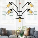 5 Bulbs Wire Cage Suspension Light Antiqued Black Iron Chandelier Lamp Fixture with Abstract Pipe Design