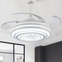Metal White Hanging Fan Lamp Ring LED 42