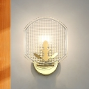 1-Light Corner Sconce Lighting Modernist Gold Wall Mount Lamp Fixture with Oval Clear Lattice Glass Shade