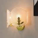 Modern Arc Oval Wall Mount Fixture Clear Latticed Glass 2 Lights Corner Wall Sconce Lamp in Gold