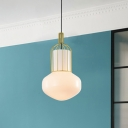 Modern 1-Bulb Hanging Light Kit with White Glass Shade Gold Schoolhouse Ceiling Pendant Lamp