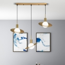Panel Ring Metal Suspension Light Modernist 3-Head Brass Multi Light Pendant with Ball White Glass Shade
