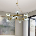 12-Bulb Living Room Chandelier Simple Brass Ring Design Suspension Light with Round Clear Glass Shade