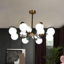 Orb Chandelier Light Fixture Modern Cream Glass 12 Bulbs Living Room Ceiling Pendant Lamp in Black