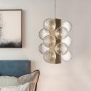 Clear Lattice Glass Ball Chandelier Modern LED Hanging Ceiling Light for Living Room