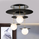 Contemporary Disk Semi Flush Lighting Metal 3 Heads Living Room Close to Ceiling Lamp in Black with Orb Opal Glass Shade