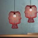Modern Arc Cage Hanging Light Kit Metal 1-Light Restaurant Suspension Lamp in Red