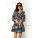 Trendy Street Ladies Long Sleeve V-Neck Plaid Patterned Ruffle Trimmed Mini Swing Dress