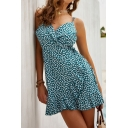 Cute Womens Sleeveless Surplice Neck All Over Floral Ruffled Trim Mini A-Line Cami Dress in Blue