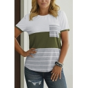 Womens Leisure Short Sleeve Round Neck Striped Color Block Curved Hem Tee Top