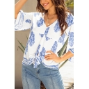 Ethnic Fashion Ladies Bell Sleeve V-Neck All Over Floral Printed Bow Tie Hem Relaxed Blouse in White