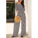 Elegant Stylish Womens Long Sleeve Round Neck Stripe Print Fitted Crop Tee & Long Wide Leg Pants Set in Black