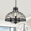 Bowl Living Room Chandelier with Adjustable Chain Metal 3 Lights Antique Pendant Lamp in Black