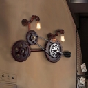 Bicycle Stairway Sconce Lighting Antiqued Metal 2 Bulbs Rust Finish Wall Mount Lamp
