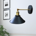 Metal Conical Sconce Lighting Farmhouse 1 Head Corner Wall Lamp Fixture in Black with/without Plug In Cord