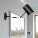 Black 1-Head Wall Sconce Vintage Iron Cylindrical Wall Mount Light Fixture with Angled Arm, 6