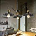 Metal Black Pendant Chandelier Scalloped 3 Lights Industrial Ceiling Hang Fixture with Gooseneck Arm