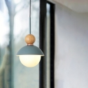 Modern Nordic Sunny Doll Pendant Metallic 1 Bulb Dining Room Down Lighting in Pink/Light Blue with Modo Wood Top
