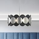 Metallic Round Suspension Light Modernism 6 Lights Chandelier Pendant Lamp in Black for Bedroom