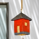 1-Bulb Hanging Lighting Industrial House Shaped Resin Ceiling Lamp Fixture in Red
