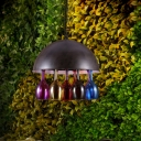 Metal Black Chandelier Pendant Lamp Dome 4 Bulbs Art Deco Hanging Light with Colorful Wine Cup Deco
