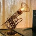 Brown Sax Cage Shaped Desk Light Vintage Metal 1-Light Restaurant Night Table Lamp