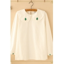 Basic Womens White Long Sleeve Peter Pan Collar Christmas Tree Embroidery Loose Fit Shirt
