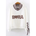Fashionable Womens Long Sleeve Lapel Collar Letter BORA Plaid Graphic Lace Up False Two-Piece Loose Fit Pullover Sweatshirt