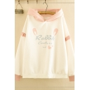 Preppy Girls Long Sleeve Letter RABBIT Graphic Stringy Selvedge Contrasted Loose Fit Hoodie