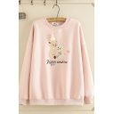 Lovely Girls Long Sleeve Round Neck Letter HAPPY SUNSHINE Bear Emboridered Relaxed Fit Sweatshirt
