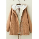 Trendy Girls Long Sleeve Button Down Floral Embroidery Sherpa Lined Drawstring Hem Loose Coat