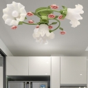 Countryside Spiral Ceiling Lamp 4 Heads Metal Flower Semi Flush Mount in Green for Living Room