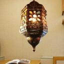 1 Head Lantern Pendant Lighting Tradition Metal Ceiling Suspension Lamp in Bronze
